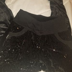 Glitter crushed velvet stretch pants